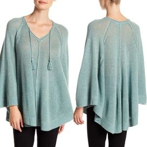Anthropologie Women Poncho Green Cashmere Small